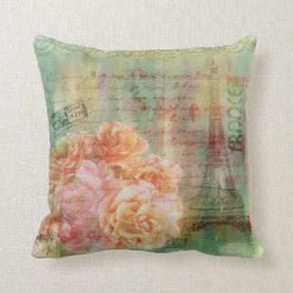 sage green cushion with vintage collaged elements pillow