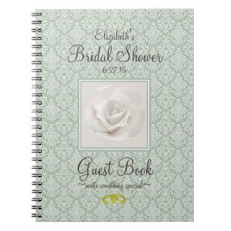 Sage Green Damask Bridal Shower Guest Book -