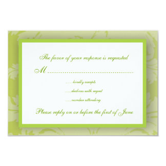 Sage Green Damask RSVP Card