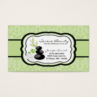 Sage Green Damask Spa Hot Stones Business Card