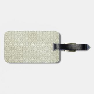 sage green damasks pattern background bag tag