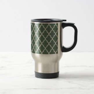 Sage Green, Dark Olive And White Moroccan Trellis Mugs