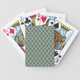 Sage Green, Dark Olive And White Moroccan Trellis Poker Deck