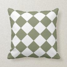 Sage Green Diamond Pattern Throw Pillows