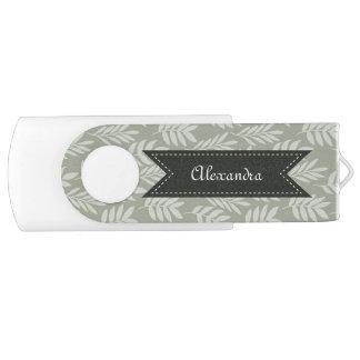 Sage Green Elegant Leaves Pattern With Name Flash Drive