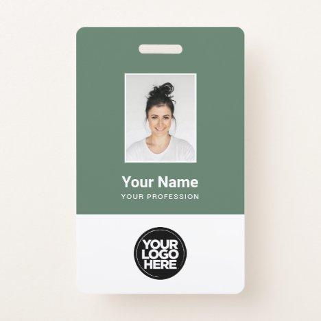 Sage Green Employee Photo, Logo, Name Badge