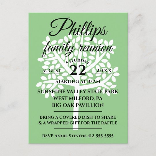 ceb070289 Sage Green Family Reunion White Tree Silhouette Invitation Postcard |  Zazzle.com