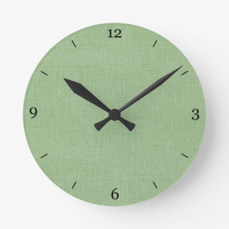 Sage Green Faux Linen Fabric Textured Background Round Wall Clock