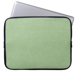 Sage Green Faux Linen Fabric Textured Background Laptop Sleeve
