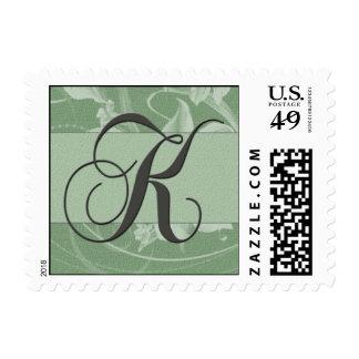 Sage green floral damask monogram - Initial K Postage Stamps