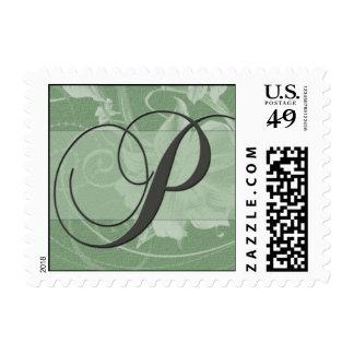 Sage green floral damask monogram - Initial P Postage