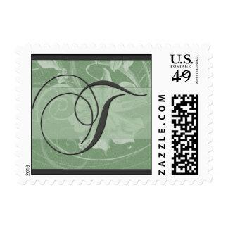 Sage green floral damask monogram - Initial T Postage