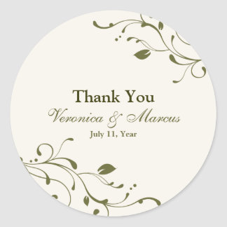 Sage Green Floral Decal Favour Stickers