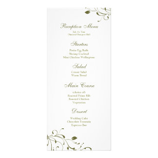 Sage Green Floral Decal Reception Menu Personalized Rack Card