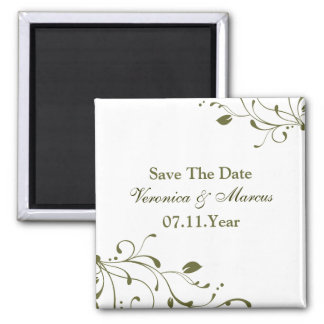 Sage Green Floral Decal Save The Date Magnet