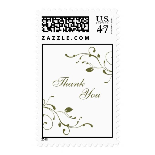 Sage Green Floral Thank You Postage Stamps