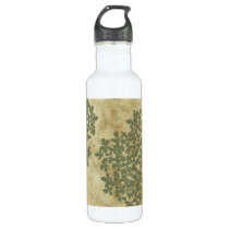 Sage Green Floral Vintage Stainless Steel Water Bottle