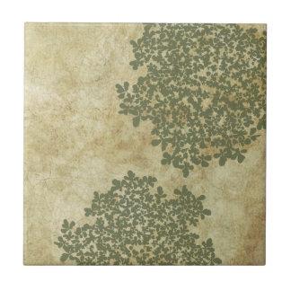 Sage Green Floral Vintage Ceramic Tile
