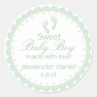 Sage Green Footprints Baby Boy Shower Classic Round Sticker