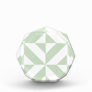 Sage Green Geometric Deco Cube Pattern Acrylic Award