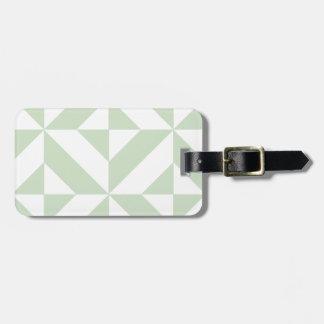 Sage Green Geometric Deco Cube Pattern Bag Tag