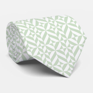 Sage Green Geometric Deco Cube Pattern Neck Tie