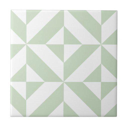 Sage Green Geometric Deco Cube Pattern Ceramic Tile