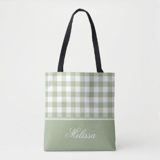 Sage Green Gingham | Personalized Tote Bag