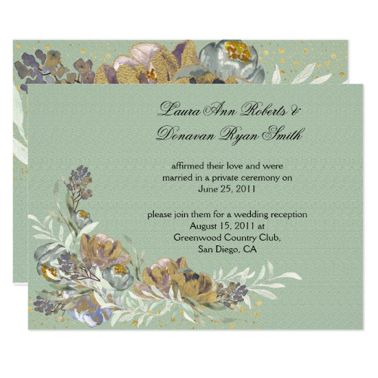 Sage Green Gold Purple Floral Reception Only Invitation