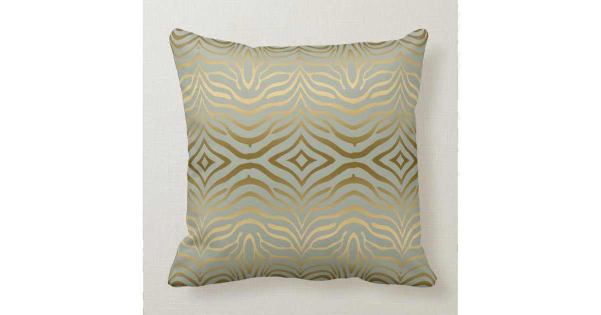 Sage Green Gold Zebra Stripes Animal Print Throw Pillow