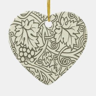 Sage Green Grapevile William Morris Pattern Ceramic Ornament
