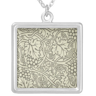 Sage Green Grapevile William Morris Pattern Silver Plated Necklace