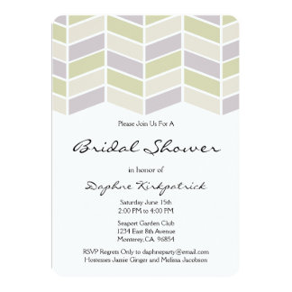 Sage Green Herringbone Bridal Shower Invitations