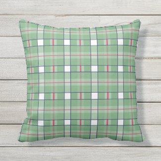 Sage Green Hot Pink Plaid Outdoor Pillow 16x16