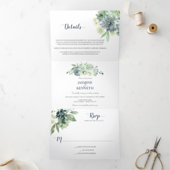 Sage Green Indigo Blue Succulents Wedding Tri-Fold Invitation