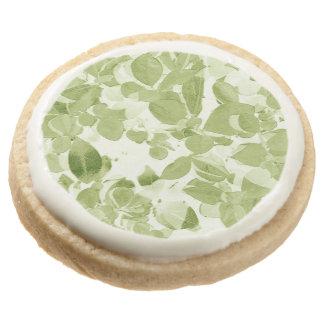 Sage Green Leaf Design Round Shortbread Cookie