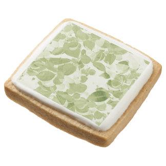 Sage Green Leaf Pattern Square Shortbread Cookie