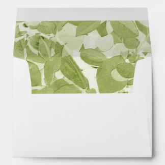 Sage Green Leaf Pattern, Vintage Inspired Envelope