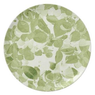 Sage Green Leaf Pattern, Vintage Inspired Melamine Plate