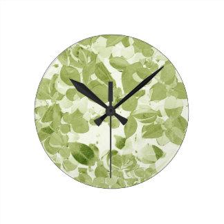 Sage Green Leaf Pattern, Vintage Inspired Round Clock