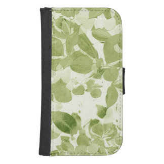 Sage Green Leaf Pattern, Vintage Inspired Wallet Phone Case For Samsung Galaxy S4