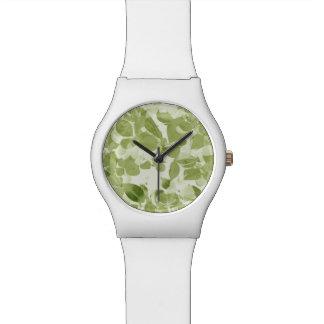 Sage Green Leaf Pattern, Vintage Inspired Watches