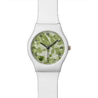 Sage Green Leaf Pattern, Vintage Inspired Wrist Watches