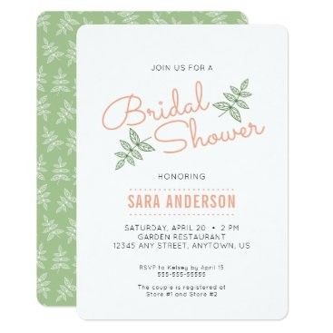 daisylin712 Sage Green Leaves and Coral Bridal Shower Invite