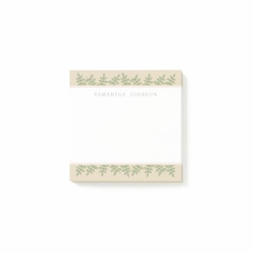 Professional Business Sage Green Leaves Border, Personalized Post-it Notes