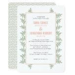 Sage Green Leaves Coral Border Wedding Invitation