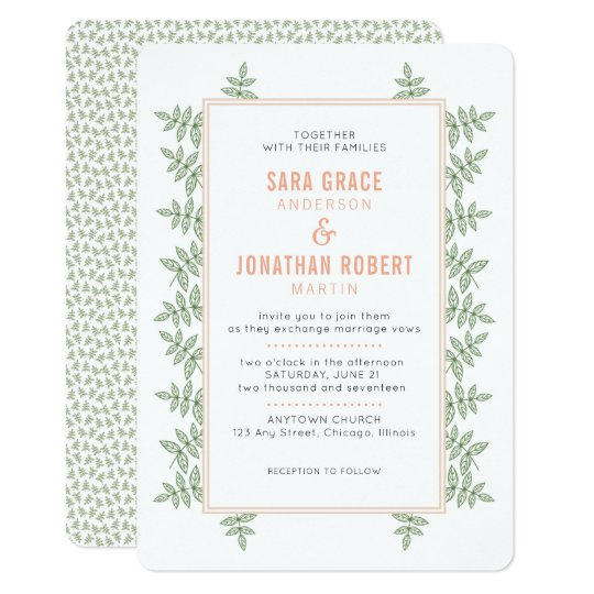 Coral Colored Wedding Invitations: Sage Green Leaves Coral Border Wedding Invitation