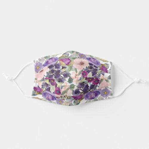 Sage Green Leaves Purple Blush Pink Flowers Adult Cloth Face Mask