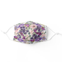 Sage Green Leaves Purple Blush Pink Flowers Cloth Face Mask