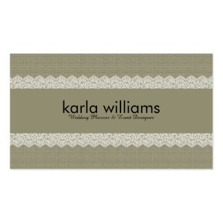 Sage Green Linen Texture & White Lace Business Card